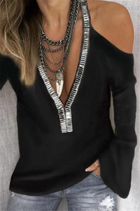 2020 Женщины дизайнер Tshirts Мода V шеи Блестки Женский тройники вскользь Tops дамы с длинным рукавом