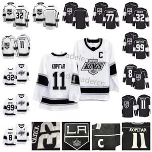 Mens LA 8 Drew Doughty 11 Anze Kopitar 32 Jonathan Quick Wayne Gretzky 77 Jeff Carter Negro Blanco hogar lejos de Los Angeles Reyes jerseys del hockey