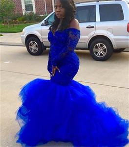 Plus Size bleu royal sirène Robes de bal à manches longues fille dentelle noire Tutu robes de soirée Robes de soirée formelle African Lady SD3380