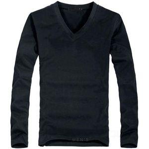 Elastik Erkek T-Shirt V Yaka Uzun Kollu Erkekler T Gömlek Erkek Likra Ve Pamuk T-Shirt Adam Giyim Tshirt Marka Tees