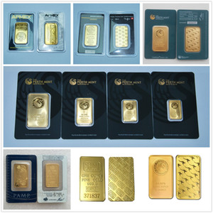1 Oz banhado a ouro 24K Bar Austrália Perth Mint Gold Bullion Credit Suisse Argor Hereaus RCM Gold Bar Presente de Natal de alta qualidade Replica