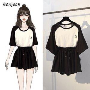 Bonjean Jupe et Top Deux Piece Set Femme T-shirt Tenues Femme Ensemble 2 pièces Vêtements d'été pour les femmes 2020