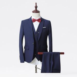 High Quality one Button blue Groom Tuxedos Notch Lapel Groomsmen Men Wedding Suits Bridegroom (Jacket+Pants+Vest+Tie) NO:40