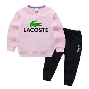 Crocodile Logo Kinder Designer Hoodies Sets Mädchen 2-7 T Kinder Hoodies Hosen 2 Teile / satz Baby Trainingsanzug Junge Mädchen Baumwolle Sets Herbst Sets
