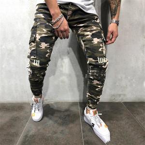 Камуфляж Mens Designer Jeans Мода Письмо печати Щитовые Мужские брюки карандаш Casual Zipper Карманы Самцы одежды