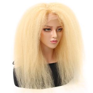 HCDIV 613 lingt Blonde Kinky droite Virgin Front Wigs Lace Brésilien Raw cheveux humains perruques 13 * 4 Transparent Lace Front 150% Densité KS 63