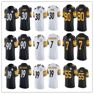 2020 PittsburghSteeler 19 JuJu Smith-Schuster Futbol Formalar 90 T.J.Watt 30 James Conner 7 Ben Roethlisberger 55 Devin Bush