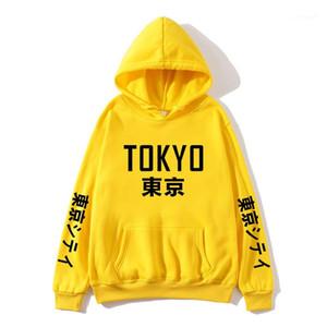 Mens Tişörtü Casual Mürettebat Boyun Katı Renk Erkek Tokyo Mens Tasarımcısı Kapüşonlular Kış Polar Uzun Kollu kapüşonlu üstler