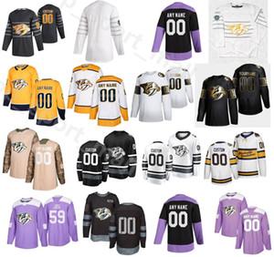 2020 All Star Nashville Raubtiere Jerseys 59 Roman Josi 9 Filip Forsberg 95 Matt Duchee 4 Ryan Ellis Eishockey Gelb Schwarz Weiß