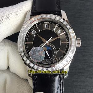 KM Komplikationen Jahreskalender 5205G-010 Cal.324SC Automatische 5205 Mondphase Zifferblatt schwarz Herren-Uhr Diamant-Lünette Sapphire Designer Uhren