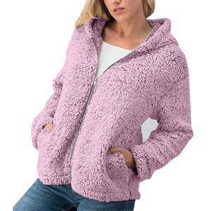 Frauen-Mantel warm Strickjacke Dame Winter Fluffy Kapuze Overcoat vorne offen Tasche Pullover Warm Zipper Kapuzenjacke Solideer Mantel-beiläufige Outwear