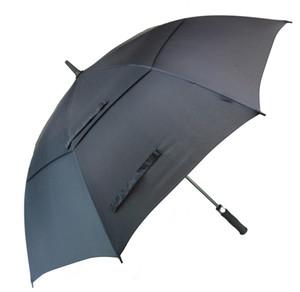 남성 자동 열기 방풍 우산 초대형 특대 더블 캐노피 배출 된 방수 스틱 62 인치 골프 우산