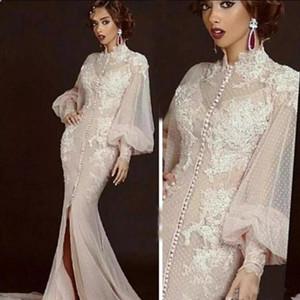 Arabisch Marokkanische Mermaid Abendkleider mit langen Ärmeln Frauen Promi Party Kleider Dubai Kaftane hohe Ansatz Split formale Kleider