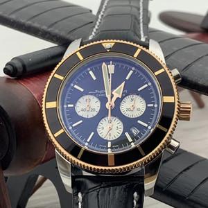 47MM Super-Ocean Montres Hommes lumineux Quartz Chronographe Chronomètre boîtier en or Montre en acier inoxydable Lunette Montres-bracelets bande de cuir