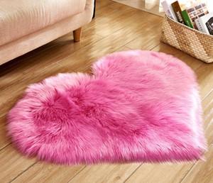 En forma de corazón Alfombra de piel larga Alfombra peluda Lana artificial Piel de oveja Habitación de bebé Habitación Área suave Estera