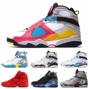 8 8s pallacanestro degli uomini Calzature SP SE Multi-Color riflettenti Bugs Bunny San Valentino Aqua South Beach Sneakers SUPPLENTI Mens allenatori sportivi