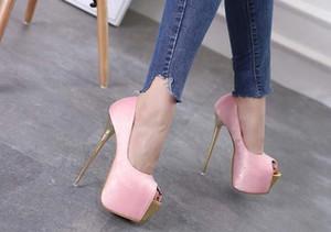 Fischmund 15CM Superabsatzfrauen einzelne Schuhe 16cm Hass Himmel hohe Sandalen neue Bankett