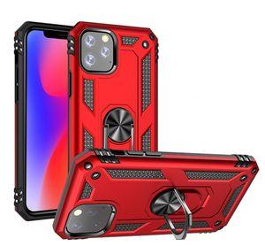 Pour Iphone 11 Pro Max 8 7 plus hybride antichocs armure Stand Case pour Samsung Galaxy Note 10 S10 plus Bague métal support voiture magnétique Couverture