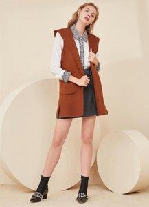 CINESSD 2020 europei e americani inverno e la primavera nuovo colore solido di media lunghezza con cappuccio di lana gilet