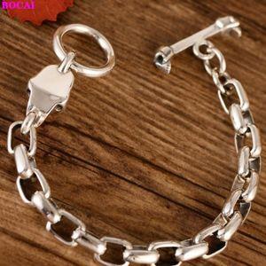 BOCAI S925 Sterling Silver pulseira retro tailandês prata moda masculina dominador crânio pulseira 2.020 novas jóias pura
