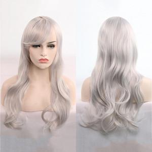 은백색 가발 유럽과 미국 애니메이션 코스프레 머리카락 70cm 긴 곱슬 머리카락 많은 재고 세트