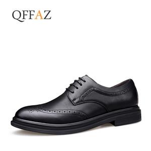 QFFAZ britische Art-Leder-Mann-Schnitzen Oxford Schuhe Vintage Design Männer Brogue Business Schuhe Größe 38-44