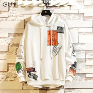 Guyi impreso letra con capucha suéter con capucha sudaderas masculino Harajuku Hip Hop inconformista Streetwear blanca con capucha Tops Off 2019 T200116