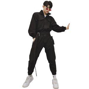 Mens Casual manches longues à capuche Tenues Cargo Pantalons Mode Streetwear Hip Hop Harem Pantalon Homme Salopette