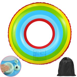 Inflatable Swim Ring with Pressing Inflation Summer Pool Swimming Float Swim Tube Beach Toy for Kids Adults