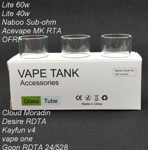Tubo di vetro Pyrex di ricambio originale 120pcs per Lite 40w / Naboo Sub-ohm / kayfun v4 / Cloud Moradin / Desiderio Atomizzatore serbatoio RDTA / Lite 60w