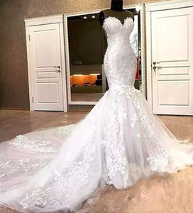 Splendida sirena pizzo abiti da sposa appliques perline lungo cappella treno sheer neck 2019 abito da sposa per le donne vestido de noiva