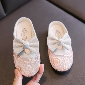 Casual Air Mesh Girls Beach Sandals Summer Butterfly-knot Children Covered-toes Slippers Medium Big Kids Net Fabric Floral Shoes