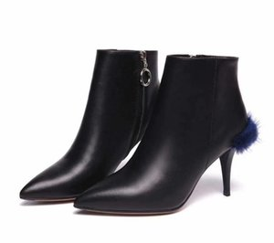 New Genuine Leather Women's Ankle Boots Pointed Toes High Heels Dress Shoes Stiletto Side Zipper Mink hair Slip On Roman Boots Casf5c0#