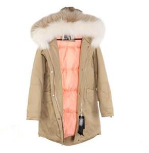 Cintura delgada de estilo delgado para mujer Largo de Parkas con capucha con 2 colores Collar de piel de mapache Sandra_studios