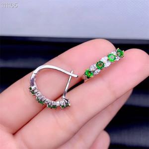Doğal Tsavorite Zarif güzel küpe Doğal yeşil küpe S925 gümüş kadın parti ince hediye takı