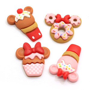 New Products Decor Cupcake Cabochons Cute Mouse Ear Pastry Cabs Resin Cup Donuts Icecream Flatbacks DIY Kawaii Jewelry Pendants