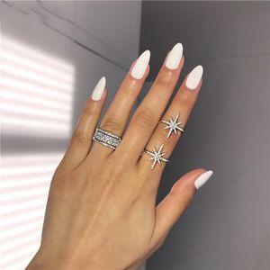 Choucong Victoria Wieck Luxury Jewelry 925 Sterling Silver Star Pave White Sapphire CZ Diamond Eternity Women Wedding Bridal Ring Set Gift