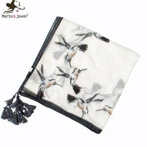 MarteJoven Populaire Colibri Oiseau Impression Blanc Doux Écharpe Carrée pour Femmes Élégant Musulman Hijab Printemps Automne Chaud Châles