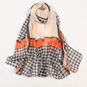 Mulher de impressão xadrez New seda chiffon cachecol ponchos de designer senhoras hijab estolas cabeça envoltório sjaal primavera schal étnica Atacado DHL grátis