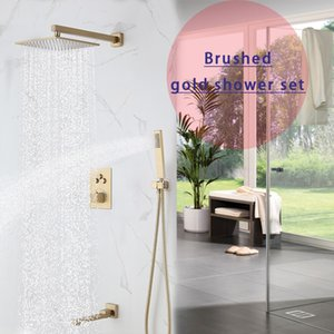 Matte Brushed Gold Complete Shower Set Modern Bath System Wall Mounted 12 Inch Showerhead Thermostatic Push Button Valve Mixer Faucet