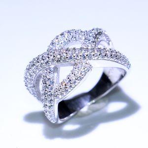 2019 Yeni Varış Sıcak Satış Lüks Takı 925 Ayar Gümüş Çapraz Düğün Band Yüzük Açacağı Beyaz Temizle CZ Elmas Nişan Band Yüzük Hediye
