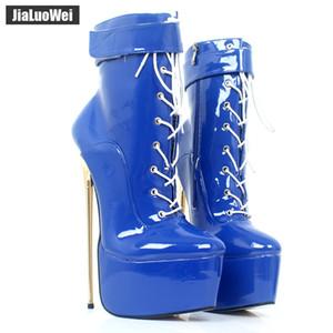 jialuowei Fetiş Yüksek Topuk Platform Boots Kadınlar Sexy 22cm Yüksek Altın İnce Topuklar Fetiş Nightclub Parti Dans Bilek Boots Artı Siz