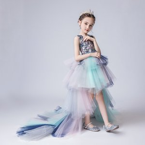 Girls fashion princess skirts girls trailing fluffy tulle flower skirts children evening dress piano performance clothes
