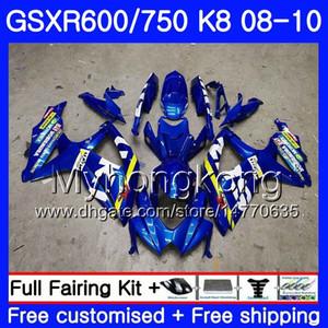 Cuerpo para SUZUKI GSX-R600 GSXR 750 600 600CC GSXR600 08 09 10 297HM.0 GSX R600 R750 GSX-R750 K8 GSXR750 2008 2009 2010 Fairing Factory azul