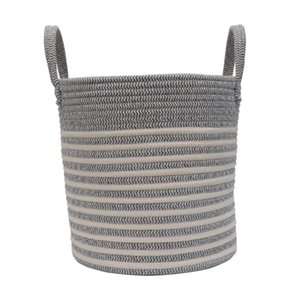 New Portable 30L Laundry Soft Basket Hamper Woven Cotton Rope Storage Bin For Toys Blanket Clothes Storage Basket Home