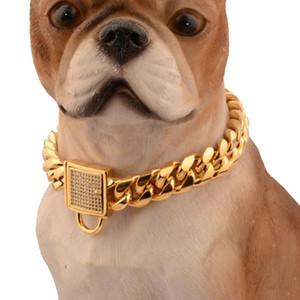 Oro Miami catena del cane placcato Collari Spesso Grande collare di cane Pitull Curb Cuban Pet Link Acciaio inossidabile Pet Supplies 10 ~ 32 pollici