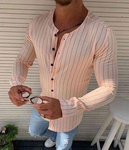 Stripe Stampato camicie da uomo stilista Girocollo Maglie a manica lunga monopetto uomini dimagriscono Abiti Camicie
