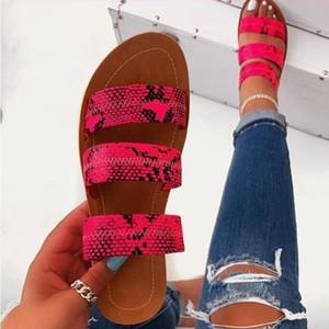 Розовые тапочки из змеиной кожи трехслойные нескользящие уличные тапочки 2020 женская мода Дикая пляжная обувь сандалии нижние женские тапочки