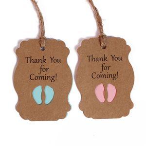 50pcs cartoncino Grazie per la Piedi Venendo Tag Kraft Paper Boy Baby Shower Candy Label fai da te del partito del regalo di compleanno 6 8QN H1