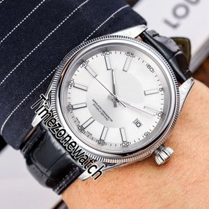 Yeni Cellini Retro Miyota 8215 Otomatik Erkek İzle Çelik Kasa yivli Bezel Gümüş Çubuk Marker Deri Saatler Timezonewatch E146a1 Dial